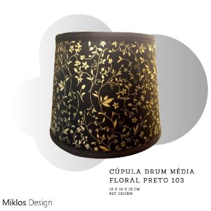 Cúpula drum média floral preto