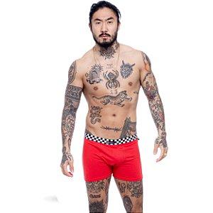 Cueca Boxer Blck Grid Red