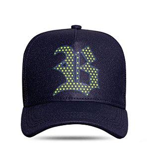 Boné Trucker Perfored Navy Blue Logo Green