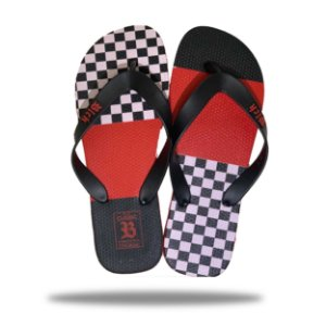 Chinelo Blck Tradicional Classic Grid Red