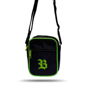 Shoulder Bag Black Basic Logo Green
