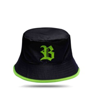 Bucket Hat Black Logo Green/All Green