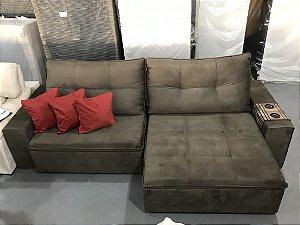 Sofa Retrátil Com Encosto Reclinável Agata jr Marrom