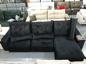 Sofa Retrátil Com Encosto Reclinável Alemanha Preto Cód. 0021)