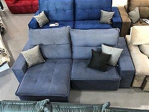 Sofa Retrátil Com Encosto Reclinável Azul Internacional (cód.0020)