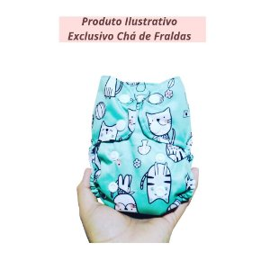 Fralda Ecológica Recém Nascido Gatinhos - Produto ilustrativo - Exclusivo chá de fraldas