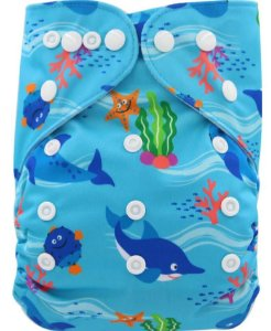 Fralda Ecológica Golfinhos Azul Ohbabyka