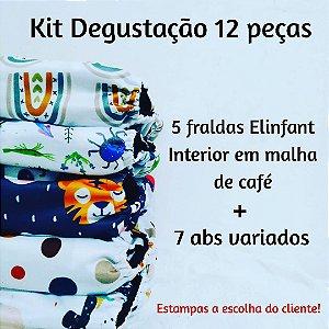 Kit Degustação 12 peças - Fraldas Elinfant com Interior em Malha de Café
