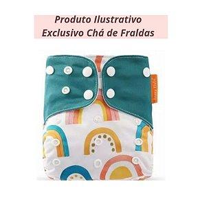 Fralda Ecológica Arco-Íris Colorido - Exclusivo Chá de Fraldas