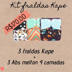 Kit 3 fraldas Kape c/ absorvente Melton 4 camadas