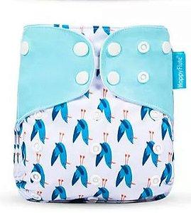 Pássaros Azul - Happy Flute - Pull - Pocket - Interior em Suedine