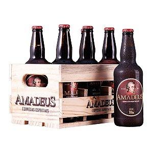 Caixa / Engradado de Madeira para 6 Garrafas Amadeus