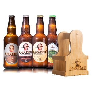 Kit 4 Cervejas Amadeus 500 ml + Caixa / Engradado de Madeira para 4 Garrafas