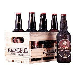 Kit 3 IPA + 3 Pale Ale Amadeus 500 ml + Caixa / Engradado de Madeira para 6 Garrafas