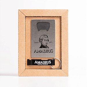 Kit Abridor de Garrafas Cartão + Chaveiro Amadeus