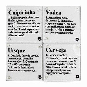 Porta copos vidro - Dicionario alcoolico