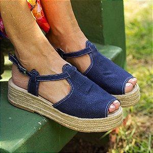Sandália Flatform Girardis em Blue Jeans