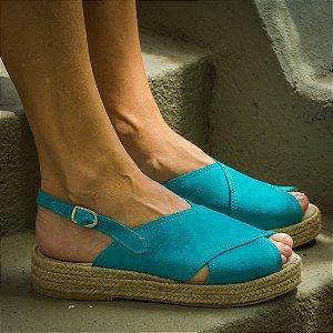 Sandália Flatform Girardis em Camurça Azul