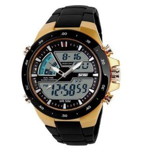 ed6a689e810 Relógio Masculino Skmei Anadigi 1340 Preto e Dourado - ROMAPLAC