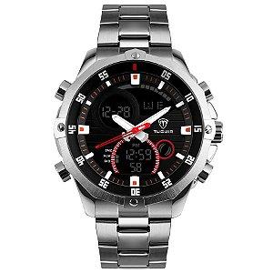 7486850e1 Relógio Masculino Tuguir Anadigi TG1146 Prata e Preto