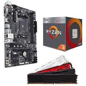 KIT UPGRADE PLACA MÃE A320MH DDR4 + PROCESSADOR AMD RYZEN 3 2200G + MEMÓRIA DDR4 16GB