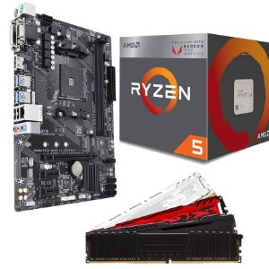 KIT UPGRADE PLACA MÃE A320MH DDR4 + PROCESSADOR AMD RYZEN 5 2400G + MEMÓRIA DDR4 8GB
