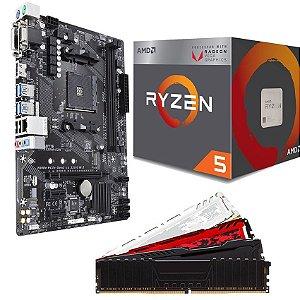 KIT UPGRADE PLACA MÃE A320MH DDR4 + PROCESSADOR AMD RYZEN 5 2400G + MEMÓRIA DDR4 16GB