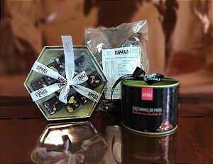 Kit Dia dos Namorados - Lata castanhas-do-pará, Box Dourada Mix Nuts e Damascos banhados em chocolate 70%