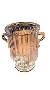 Vaso de Vidro Canelado Transparente com Alças