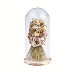 Arranjo Permanente Flores Desidratadas com Cúpula