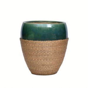 Vaso Cerâmica Verde com Rattan