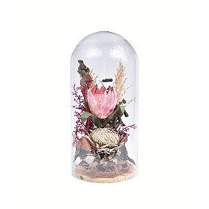Arranjo Permanente Flor Protea com Cúpula