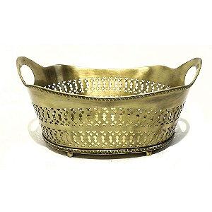Cesto Metal Vazado Dourado