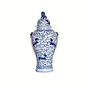 Vaso Ceramica Chinesa Pintura Azul P