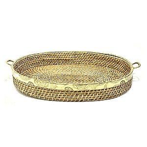 Cesta bandeja ratan oval e metal dourado