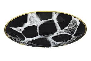 Centro Decorativo vidro cor mármore preto e branco com borda ouro