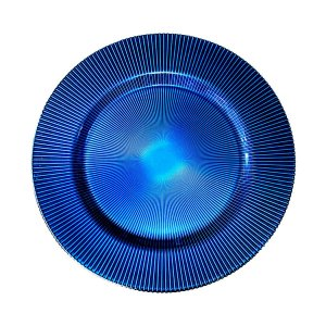 Sousplat vidro liso superior e frisado inferior 34 cm