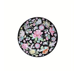 Prato raso preto com estampa floral