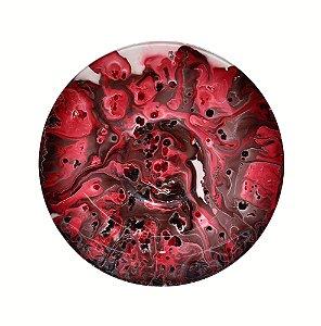 Prato decorativo vermelho com café