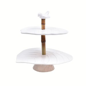 Doceira pássaro cerâmica com bambu