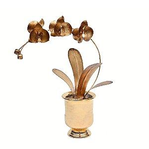 Orquídea de latão folhas de ouro vaso cerâmica