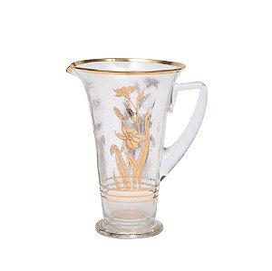 Jarra de vidro com flora dourado