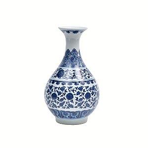Vaso de cerâmica branco e azul