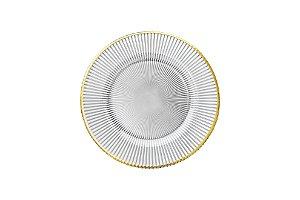 Prato sobremesa vidro Dodge borda ouro 21 cm
