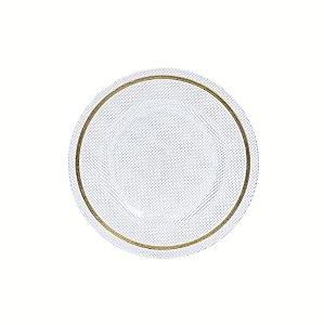 Prato sobremesa vidro pyramid incolor com aro ouro 21 cm