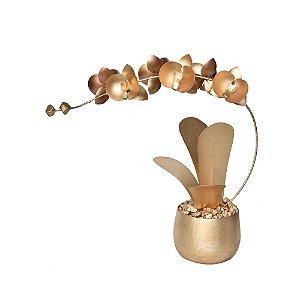 Orquídea de Latão Dourada Vaso Metálico