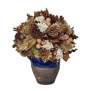 Vaso de Cerâmica Azul/Marrom com Arranjo Natal