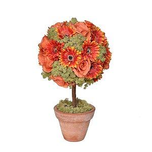 Arranjo Flores artificiais vermelhas e laranjas vaso barro
