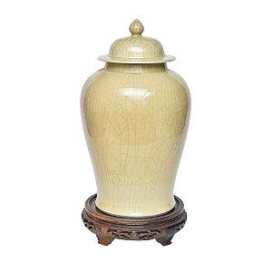 Potiche de cerâmica Bege com Base de Madeira