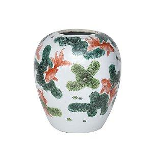 Vaso Cerâmica Branca e Verde